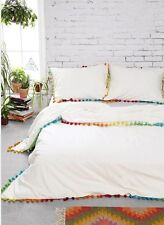 Urban Outfitters Magical Thinking Pom Fringe Duvet Cover Wht Multi 66X90 Twin XL