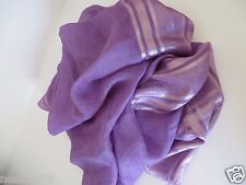 NWT $395 Authentic GUCCI Shimmer purple with silver light purple stripe SCARF