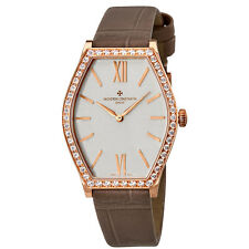 Vacheron Constantin Malte Silver Dial 18K Rose Gold Diamond Ladies Watch