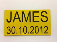 PAIR OF ENGRAVED NP1 NUMBER PLATES FOR CHILDRENS LITTLE TIKES COZY COUPE TOY