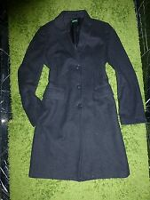 BENETTON Charcoal Gray Black WOOL Classic COAT Peacoat Trench M EUR 46 M 8-10