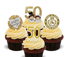 Or/doré mariage anniversaire comestible cupcake toppers, stand-up 50th