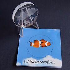 Glasmünze Kongo 10 Francs 2004 Clownfisch Glas Gedenkmünze + Zfk