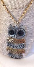 "Vintage large OWL chain necklace 2 tone gold & silver tone 21"" L"