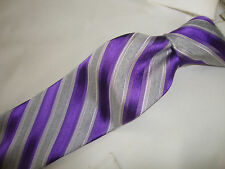CALVIN KLEIN Purple & Silver stripe 100% silk men's skinny neck Tie. 58 X 3.1/4