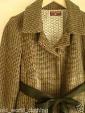 Ladies Vintage Wool Blend Tweed Swing Short Jacket Blazer Coat UK 8 10 Small
