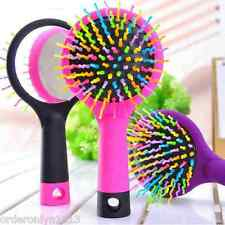 Full Volume Anti-Static S-Curl Wave Hair Brush W/ Back Mirror (P)