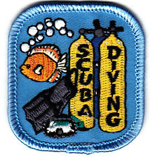 """SCUBA DIVING"" IRON ON EMBROIDERED PATCH - DIVER - SWIMMING - WATER SPORT"