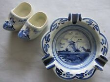 "Vintage DELFT BLUE HOLLAND SOUVENIRS  windmill 4"" ashtray and clogs HAND PAINTED"