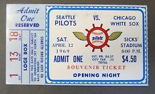 SEATTLE PILOTS Opening Night Souvenir Ticket April 12 1969 vs Chicago White Sox