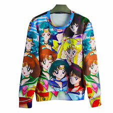 Anime Sailor Moon Sweatshirt 3D Print Pullover Cartoon Hoodies Cosplay For Women