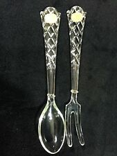 "️Vintage Bohemia Glass Salad Salad Server Set Fork Spoon 9.5"" Czech Cut Box"