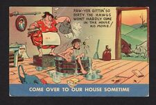 """Comic Postcard """"Paw-yer gittin' so dirty the hawgs won't come in"""" come over"""