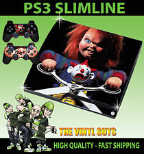 PLAYSTATION PS3 SLIM autocollant childs play chucky horreur poupée peau & 2 pad peau