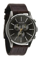 New Nixon Sentry Chronograph Brown Leather Strap Mens Watch A4051887