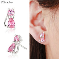925 Sterling Silver Teardrop & Round CZ Bowknot Kitty Cat Kids Stud Earrings