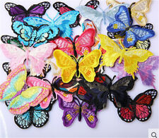 Retro 10X Embroidery Butterfly Applique Embroidered Sew On Patch Badge Fabric #