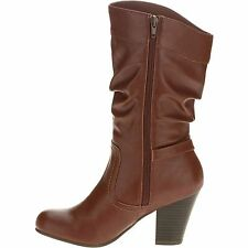 NIB Faded Glory Womens Slouch High Heel Boot Shoe Size 11 Brown New Boots Shoes