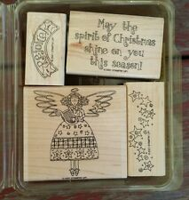Stampin' Up COUNTRY CHRISTMAS Set of 4 Rubber Stamps Lot Christmas Holiday