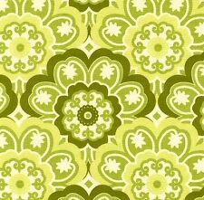 Michael Miller Retro Blossoming Flower Green on White Cotton Fabric - FQ