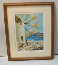 Watercolor Woman Overlooking Water with Donkey Framed and Matted Signed Vintage