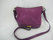 Cole Haan Leather Suede Shoulder Bag Purple Berry