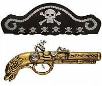 Pirate Highwayman Buccaneer Musketeer Musket Gun Pistol + Hat Fancy Dress