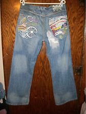 Mens Artful Dodger Blue Jeans Bishops Island Blood Red Embroidered Size 36