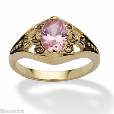 WOMENS ANTIQUED 14K GOLD BIRTHSTONE OCTOBER PINK TOURMALINE RING  5 6 7 8 9 10