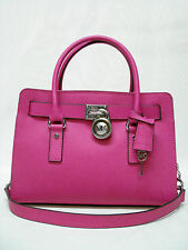 NWT MICHAEL KORS HAMILTON SIGMATURE EAST WEST SATCHEL PURSE 30S3SHMS3L RASPBERRY