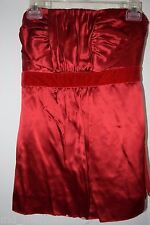 BANANA REPUBLIC Sexy Womens RED SILK RUCHED STRAPLESS BODICE TOP SHIRT VELVET