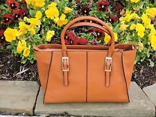 Structured Genuine Leather Tote with Shoulder Strap