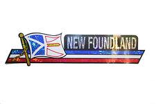 NEWFOUNDLAND CANADA PROV. FLAG Metallic Bumper LONG STICKER Decal..11.75 X 3 IN.