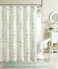 Sage Lime Green Beige Leaf Primrosa Fabric Shower Curtain
