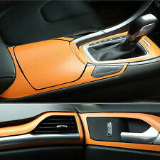 Orange Carbon Fiber Texture Decorative Decal 3D Bubble Free Air Release Sticker