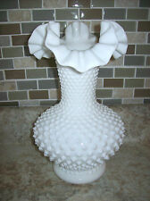 Fenton hobnail ruffle milk glass vase 10.5 inches