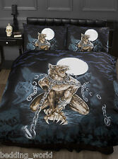 LOUPS GAROU SINGLE BED DUVET COVER SET ALCHEMY GOTHIC WEREWOLF MOON BATS BLACK