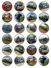 X24 STEAM ENGINE LOCOMOTIVE TRAIN & RAILWAY CUP CAKE TOPPERS ON RICE PAPER