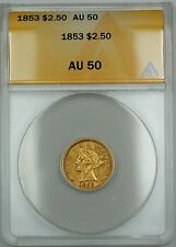 1853 $2.50 Liberty Quarter Eagle Gold Coin Anacs Au-50