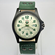 SOKI Military Army Green Mens Quartz Analog Date Time Leather Band Wrist Watch