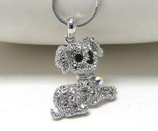 w/ Swarovski Crystal White Gold Plating Puppy Dog Necklace Gift Box