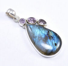 Labradorite & Amethyst  925 Sterling Silver Pendant Jewelry Sz 5.4 Cm NY-A6632