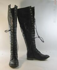 """new Black 1""""block heel lace up over the knee sexy boot Size.  6.5  p"""