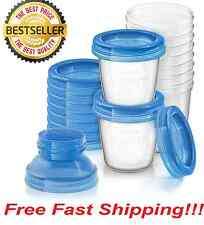 NEW Philips Avent Breast Milk Storage Cups Pack of 10 6 Ounced Accessories Blue