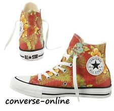 Womens Boys CONVERSE All Star HAWAIIAN Red Green HI TOP Trainers Boots UK SIZE 4