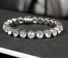 UK SPARKLY magnetic RHINESTONE BRACELET crystal SILVER TONE round stones BANGLE