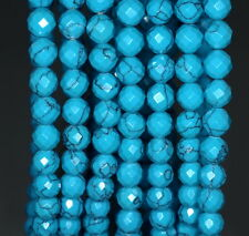 6MM  TURQUOISE GEMSTONE BLUE FACETED ROUND LOOSE BEADS 7""
