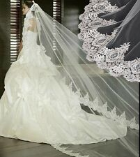 Vintage Lace Bridal Veils 2.6M One Layer Ivory White Church Wedding Dress Veils