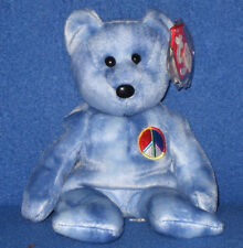 TY BLUE PEACE BEAR BEANIE BABY (FILLED IN SIGN) - MINT with MINT TAGS