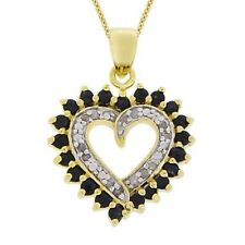 18K Gold over Silver 1/8ct Diamond & 1ct Sapphire Heart Necklace
